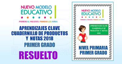 APRENDIZAJES CLAVE CUADERNILLO DE PRODUCTOS Y  NOTAS 2018 RESUELTO PRIMER GRADO