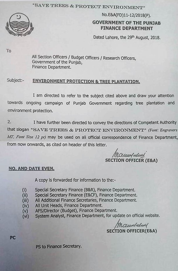 NOTIFICATION REGARDING USE OF SLOGAN SAVE TREES & PROTECT ENVIRONMENT