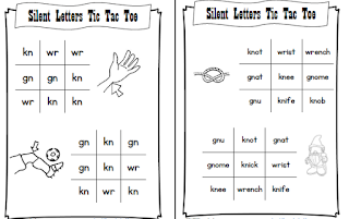 Beginning Silent Letters Tic Tac Toe