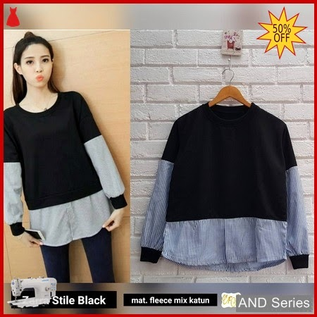 AND329 Sweater Wanita Zarra Stile Hitam BMGShop
