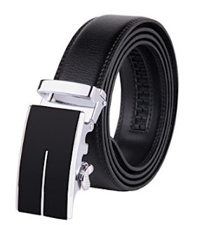JINIU Men's Leather Belt Automatic Buckle 35mm Ratchet Dress Black Belts Boxed