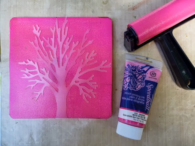 How to Use a Gelli Arts Gelli Plate with Speedball Block Printing Ink and a Tattered Angels Glimmer Screen