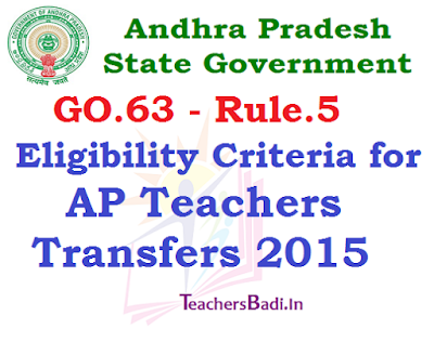 Eligibility Criteria, AP Teachers Transfers 2015,GO.63 Rule.5 Criteria for Transfers