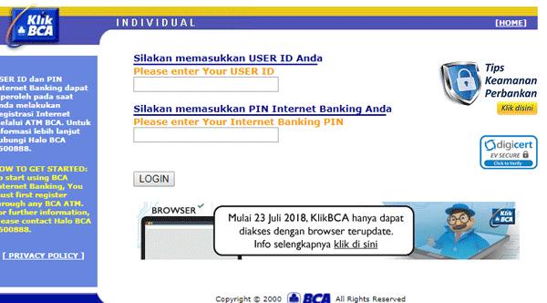halaman internet banking klik bca
