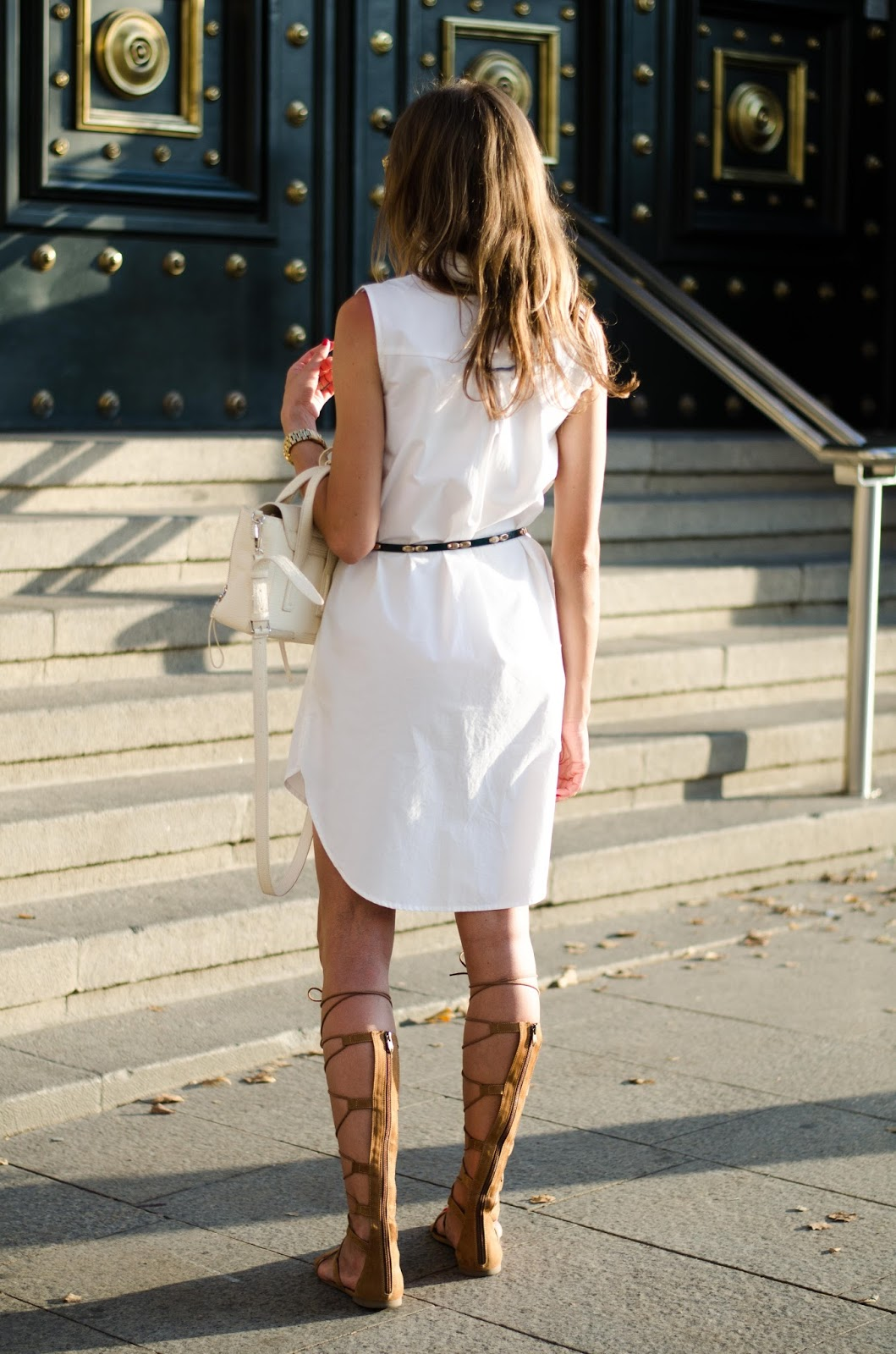 kristjaana mere zara white shirt dress tamaris gladiator sandals