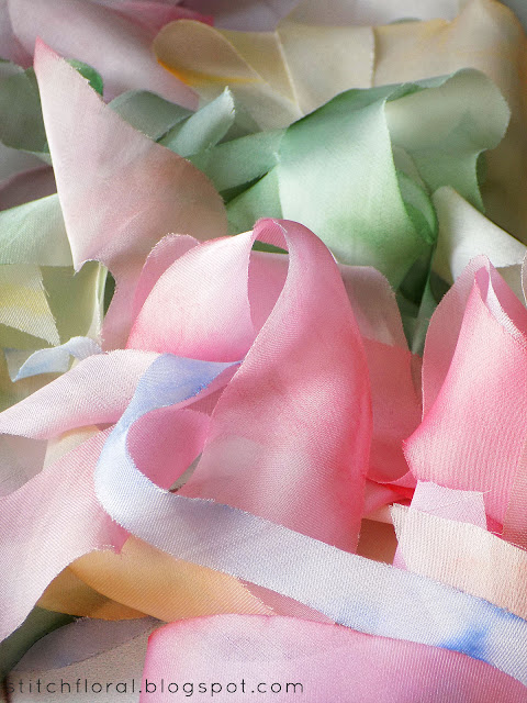 DIY silk ribbons: cutting & coloring