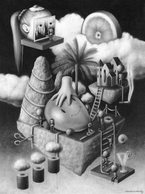 Amandine Urruty ilustrações arte desenhos grafite preto e branco surreal macabro bizarro onírico