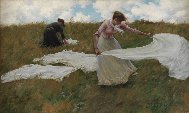 CHARLES COURTNEY CURRAN (1861-1942), A BREEZY DAY, 1887. OIL ON CANVAS, 11 15/16 X 20 IN. PENNSYLVANIA ACADEMY OF THE FINE ARTS, PHILADELPHIA, HENRY D. GILPIN FUND, 1899.1