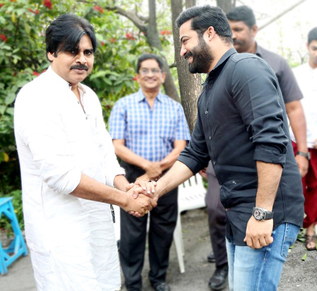 Pawan Kalyan attends Puja Ceremony of Jr NTR's next Movie