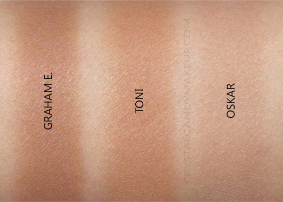 TheBalm Take Home The Bronze Anti-Orange Bronzers Swatches Toni Oskar Graham E.