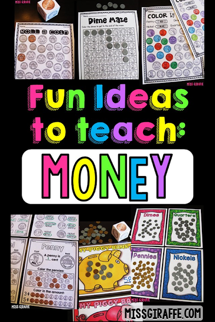 A ton of hands on money activities for first grade kids or second grade students for teaching counting coins including identifying coins