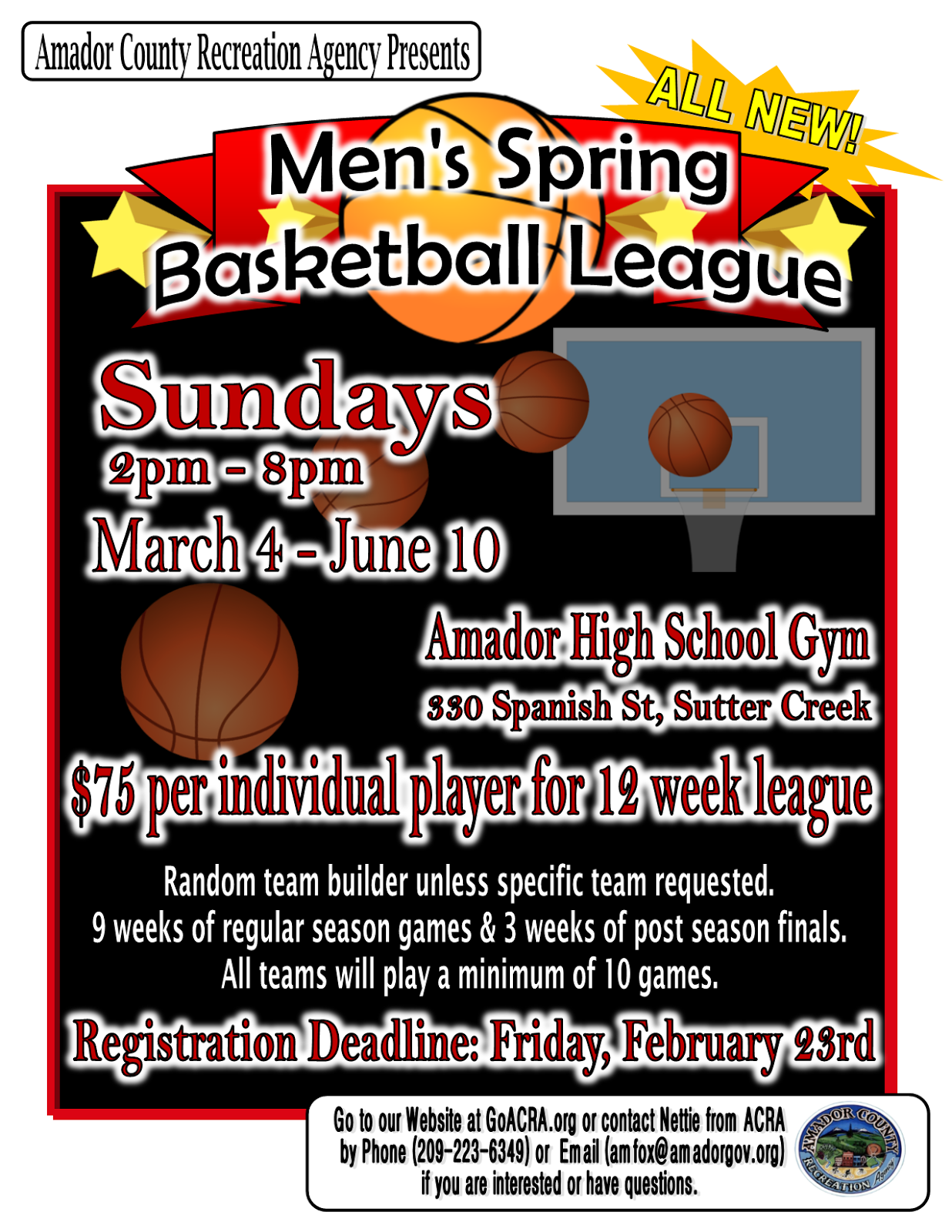 8 Team League Schedule Template Maker Lifeinamador Com Men S Spring Basketball Mar 4 June