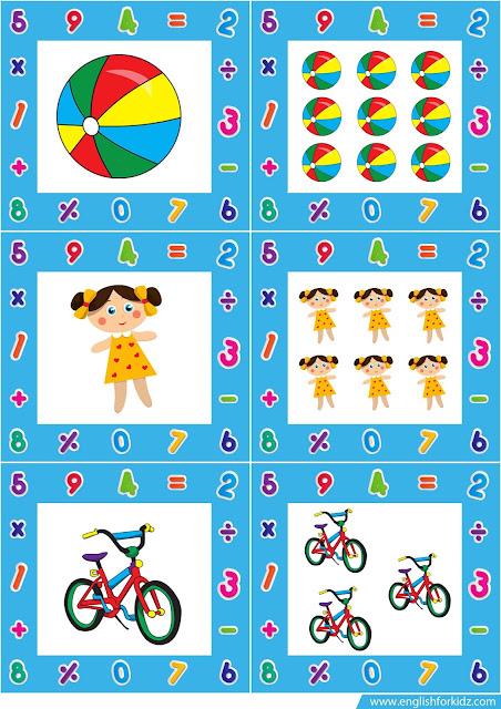 plural noun flashcards, toys flashcards