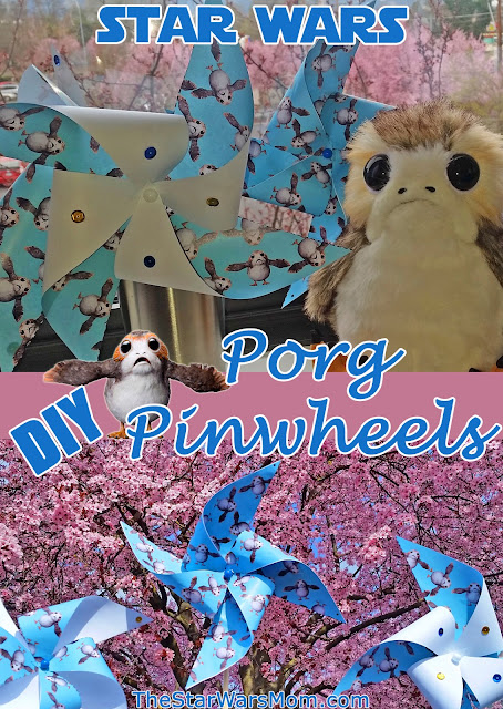 Porg Pinwheel Party Craft - Porgs Windmills by The Star Wars Mom