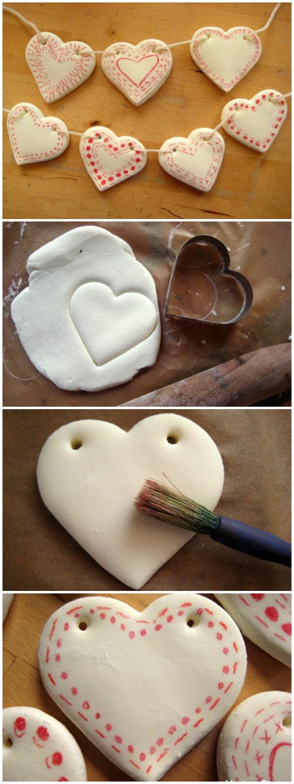 DIY clay heart bunting
