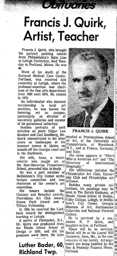 Listed Artist Francis J. Quirk   Obituary
