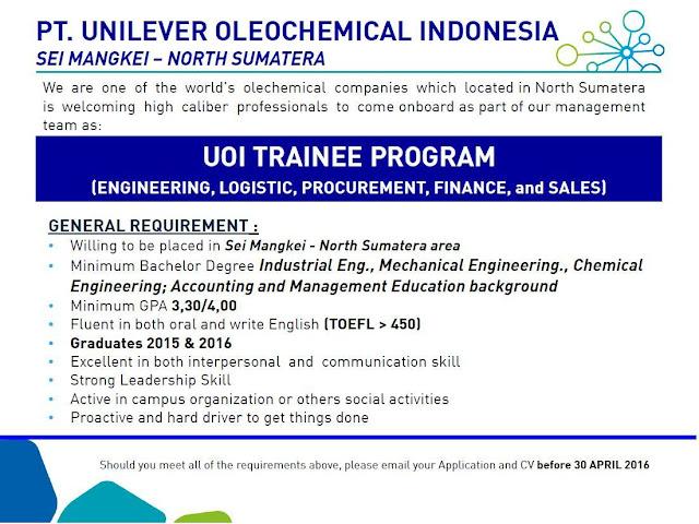 Lowongan Kerja PT. Unilever Oleochemical Indonesia