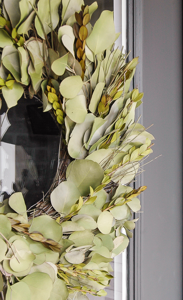 Faux eucalyptus leaf wreath