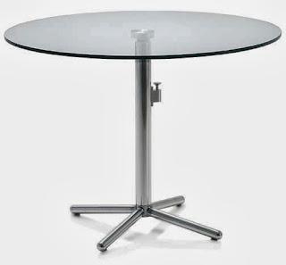 Mesa Acero Cristal Abatible, mesa cristal y acero redonda