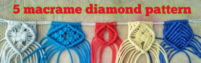 5 प्रकार के macrame diamond patterns सीखे और किसी भी macrame project में use करे|(5 different type of macrame diamond pattern tutorial)