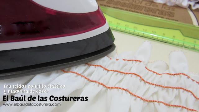fruncido con hilo elástico para ropa pasar suavemente la plancha con vapor