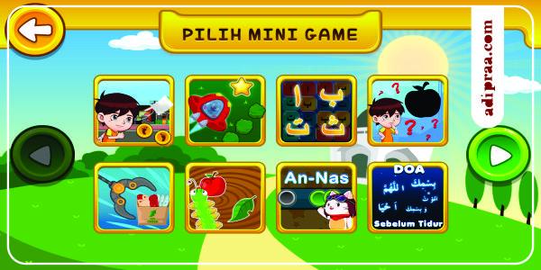 Pilihan Mini Game yang ada di Game Anak Sholeh | adipraa.com