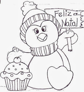 desenho de pinguim com cupcake para pintar