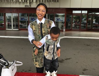 Checkout Cute Photo of Tonto Dikeh & Her Son, King Andre in Matching outfit
