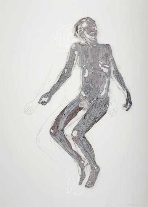 Sarah van der Pols Amae 15, 2009 Soot, silverfoil, indian ink, acryl, pigment marker, pigment ink on paper 140 x 100 cm