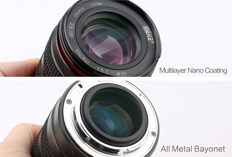 Объектив Meike 85mm f/2.8 Macro спереди и сзади