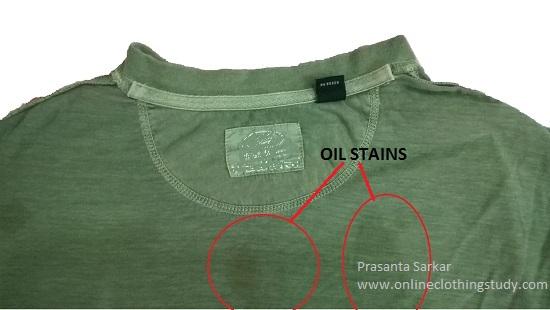 Oil staining in garment
