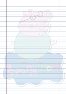 Folha Papel Pautado Papai Pig PDF para imprimir na folha A4