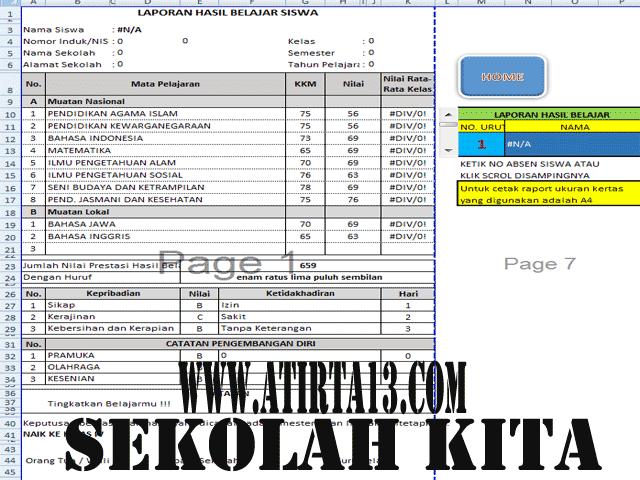 Aplikasi Penilaian KTSP Kelas 1,2,3,4,5,6 Dengan 10 Mapel Plus Cetak Raport Format Excel