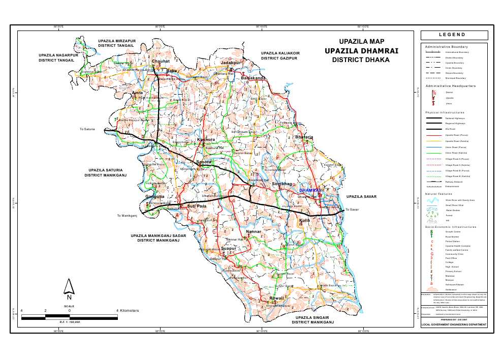 Dhamrai Upazila Map Dhaka District Bangladesh