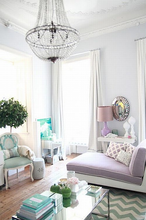 gorgeous pastel living room