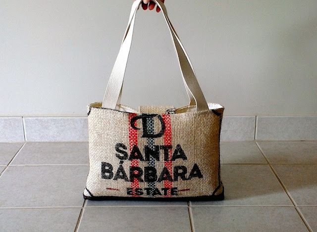 Lina and Vi Burlap Santa Barbara tote bag
