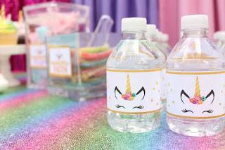 printable unicorn water labels