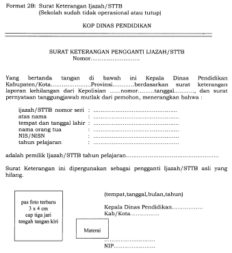 Format Surat Keterangan Ijazah Sttb Sekolah Sudah Tidak Operasional