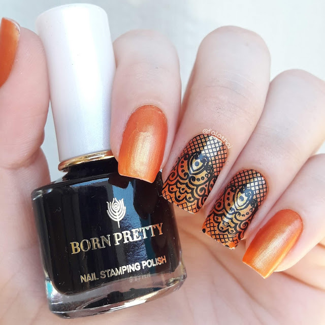 stamping nailart orange