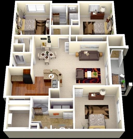 contoh gambar 3 dimensi rumah minimalis dengan tipe 45