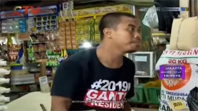 Pedagang Beras Pakai Kaos #2019GantiPresiden Masuk Acara Uang Kaget GTV