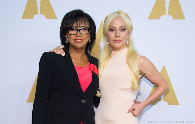 Academy President Cheryl Boone Isaacs with Oscar nominee Lady Gaga at the 2016 Oscars Nominees Luncheon.
