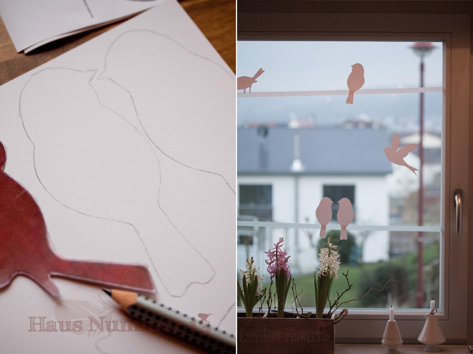 diy kommt ein vogel geflogen fensterdeko f r den fr hling freebie haus nummer 13. Black Bedroom Furniture Sets. Home Design Ideas