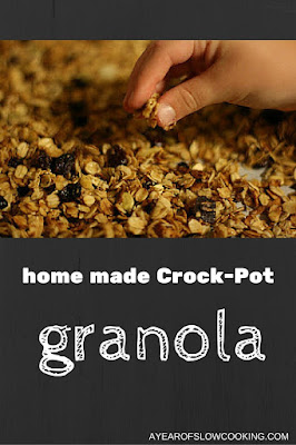 This is one of the only times I haven't burnt granola, and my kids have been eating it non-stop since the first batch came out of the crock. I'm going to go have some more right now.