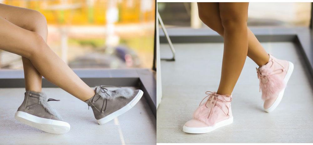 Pantofi sport fete gri, roz piele intoarsa la moda ieftine online