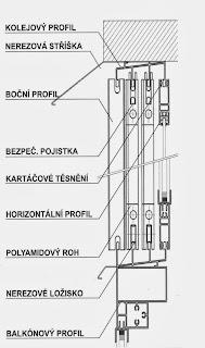Zasklení balkonu, systém GLASA, náčrtek 2