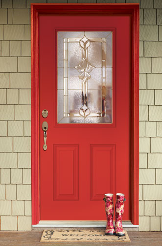 Feather River Doors: Half Lite Medina Glass With Brass Caming
