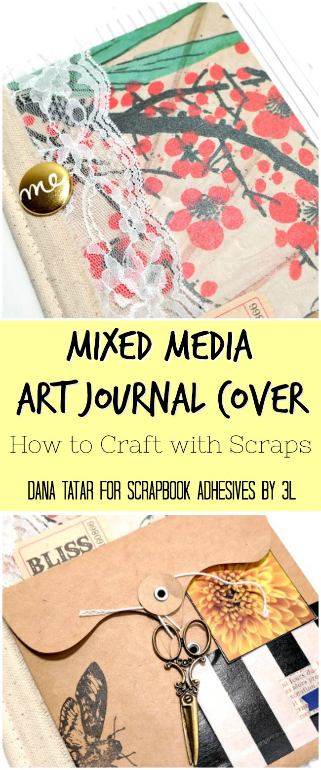 Mixed Media Art Journal Cover by Dana Tatar for Scrapbook Adhesives by 3L #TheyCallMeTatarSalad #ArtJournal #MixedMedia