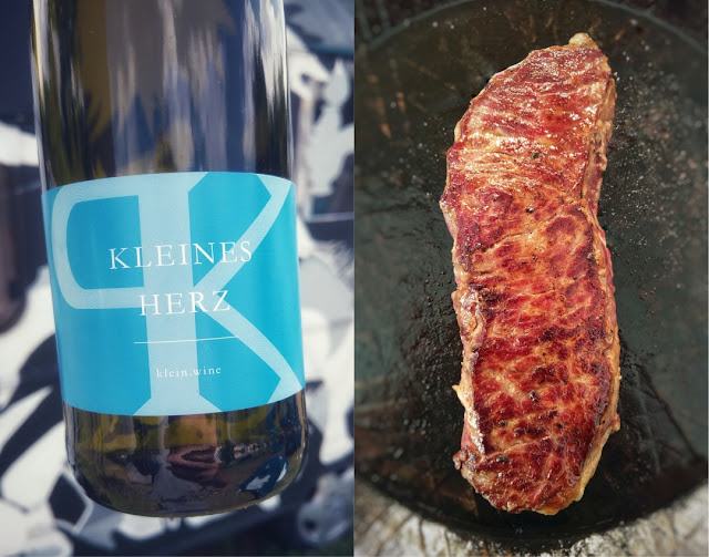 Riesling Weingut Phil Klein mit Steak