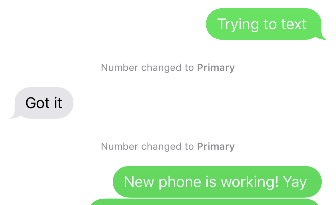 number changed to primary iphone xr